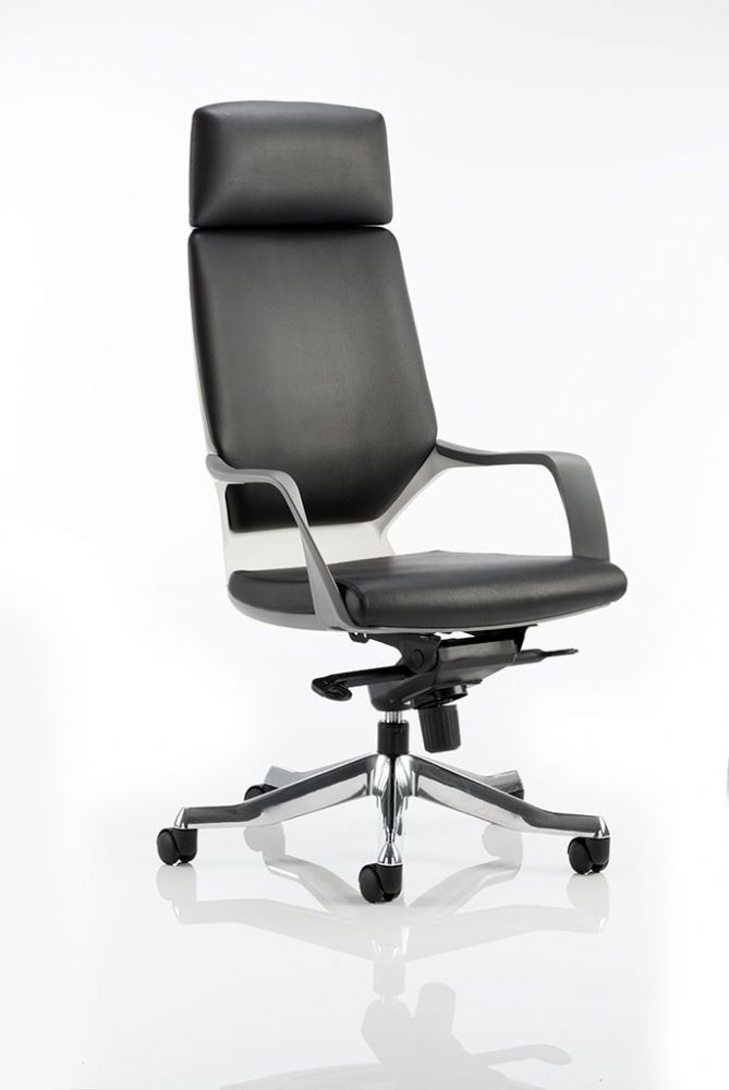 Xenon Executive White Shell Chair High Backrest Arms Both Fabric & Leather Options available